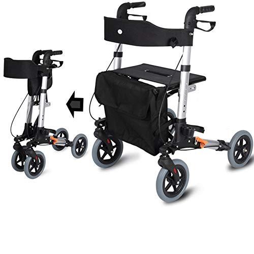 FF Langs Walker Mobility Rollators 4 Wiel Met Stoel, De Oude Man Duwt De Stepper Winkelwagen Om Het Wandelen Vierwielige Stap Vouwen Kan Neem De Rolstoel Walker