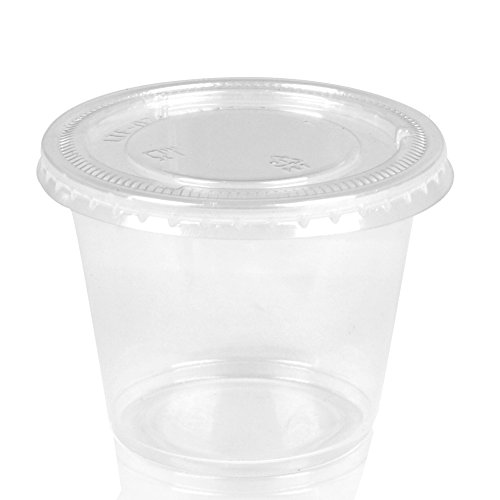 Kindpack Jello Shot Souffle Cups with Lids,2-Ounce,130 Sets,4 oz 100 Sets,Slime Containers,Disposable and Reuseable Portion Cups Sauce Cup (White-1)