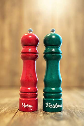 Salt and Pepper Mills Set Rustic Handpainted Wooden Grinders Country Green Cardinal Red