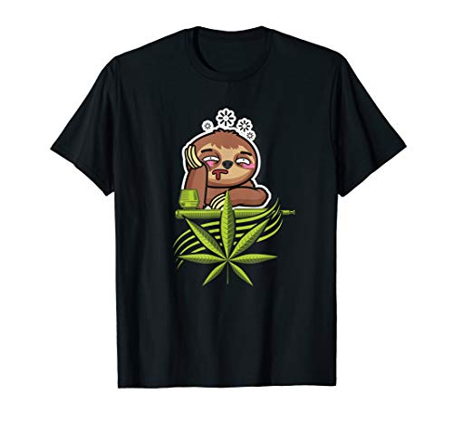 Weed smoking chiller sloth with pipe and leafs around. T-Shirt
