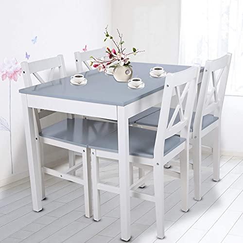 Juego de mesa de comedor, mesa de comedor, mesa de madera, conjunto de asientos, sólido y elegante, bordes lisos, grupo de mesa con 1 mesa y 4 sillas, para cocina, salón o hogar (gris azulado)