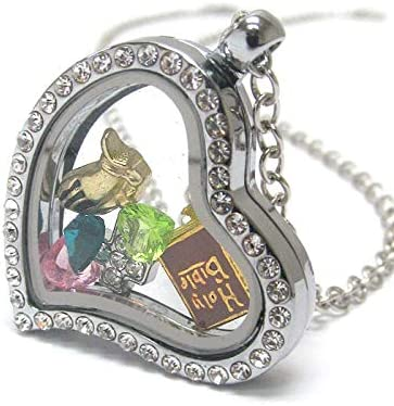 Origami-Style Bible Selling Cross Over item handling Praying Hands Floating Heart Charm Loc