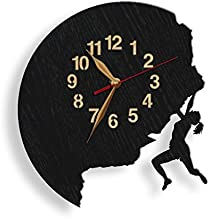 monastar Girl Rock Climber Wall Clock -Select Size, Personalized- Wood Big Climbing Sport Rock Climber Mountaineering Moun...