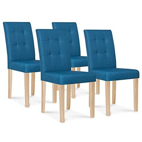 IDMarket - Lot de 4 chaises POLGA capitonnées Bleu Canard pour Salle à Manger
