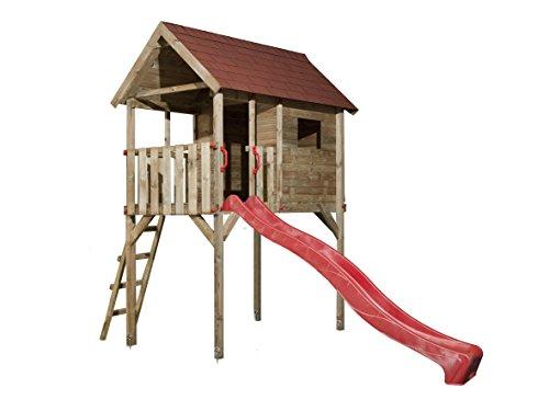 Tabaluga Kinderstelzenhaus 815, mit Wellenwasserrutsche rot 300 cm