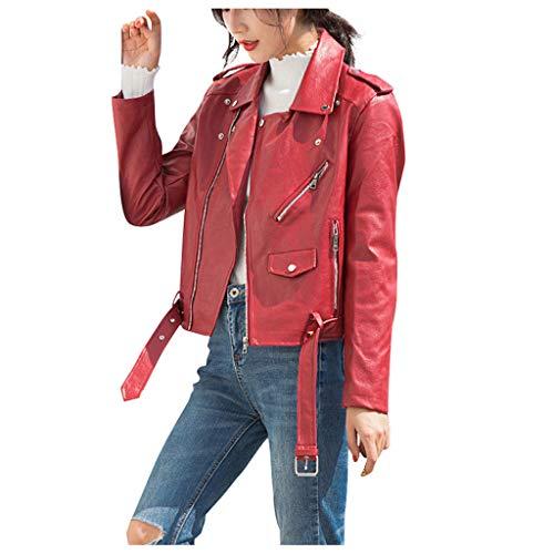 Supertong Damen Jacke Kurze Lederjacke Herbst Winter Casual Übergangsjacke Einfarbig Elegant Revers Kunstlederjacke Winterjacke Mädchen Mode Bikerjacke Motorradjacke mit Reißverschluss Tasche