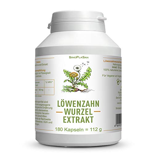 Löwenzahnwurzel-Extrakt 500mg | 180 Kapseln | vegan, glutenfrei, laktosefrei, ohne Zusätze (z.B. Magnesiumstearat) | SinoPlaSan