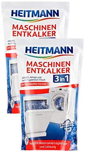 Heitmann Maschinen Entkalker für Waschmaschinen und Geschirrspüler: hochwirksame Entkalkung mit 1 Durchlauf, Reiniger gegen Kalkablagerungen und unangenehme Gerüche 2 x 175g