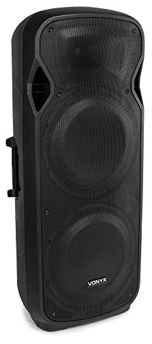Vonyx AP215ABT Altavoz Activo Bluetooth (1200W de Potencia, Mp3, USB, SD, Hi-End, Tweeter de Medios Bajos de 15