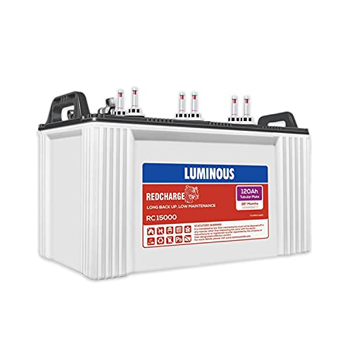 Luminous Red Charge RC 15000 120 Ah Recyclable Tubular Inverter Battery for Home, Office & Shops (Blue & White)