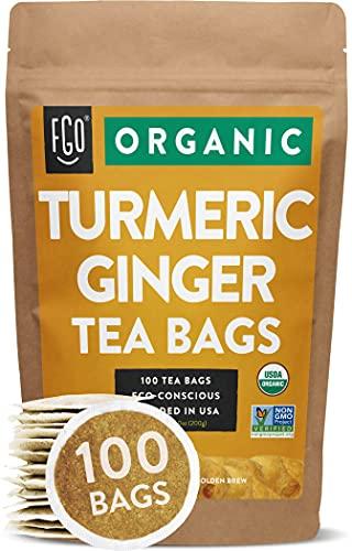 Organic Turmeric Ginger Tea Bags   100 Tea Bags   Eco-Conscious Tea Bags in Kraft Bag   by FGO