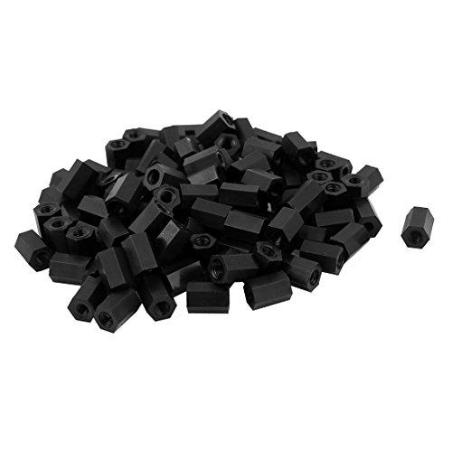 sourcingmap/® Tema M4x40mm Mujer Nylon Hex Espaciador Standoff pilar PCB tuerca negra 50pcs