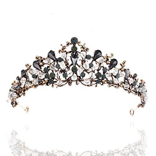 Barode Black Baroque Wedding Crowns and Tiaras Bridal Queen Crowns Wedding Headbands Accessories for Brides