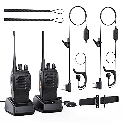Walkie Talkie Recargable 16 Canales 1500mAh CTCSS DCS 3.7 Millas, Radio bidireccional Walkie Talkie UHF con Auricular VOX Incorporado Antorcha LED (2 PCS)