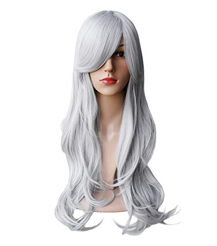 Another Me Wig Women's Long Big Wavy Hair 27.5 Inches Ash Silver White Ultra Soft Heat Resistant Fiber Party Cosplay Accessories