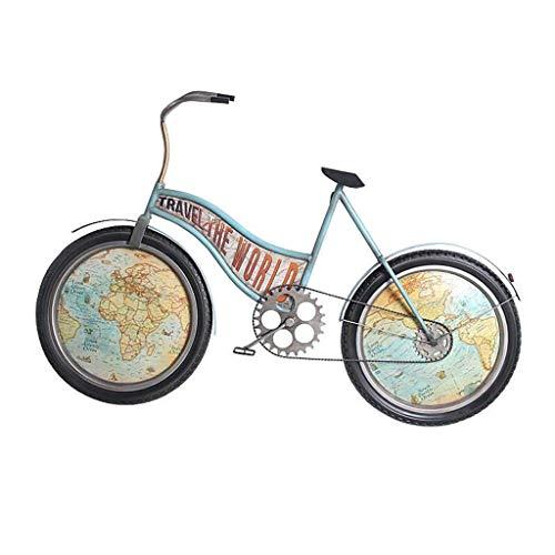 WEHOLY Reloj de Pared Creativo Bicicleta Hierro Arte Silencioso Reloj de Color Vintage Sala de Estar Café Decoración de Pared Reloj 丨 sin Segunda Mano 丨 Estilo Industrial Creativo
