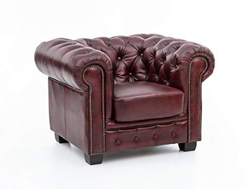 Woodkings® Chesterfield Sessel antik Echtleder Bürosessel Polstermöbel Designsessel Federkern Unikat Herrenzimmer englisches Leder Stilsessel (antik rot)