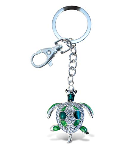Aqua79 Green Sea Turtle Keychain - Silver 3D Sparkling Charm Rhinestones Fashionable Stylish Metal Alloy Durable Key Ring Bling Crystal Jewelry Accessory, Clasp For Key Chain, Purse, Backpack, Handbag