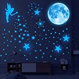 DREAMARK 1622 Pcs Glow in The Dark Star Wall Stickers, Realistic Ceiling Glowing Stars and Full Moon Self-Adhesive Stickers Starry Sky Decoration Decals for Kids Room (Blue)