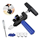 2 in 1 Glass Cutter, Consolidated Stained Glass Cutter and Breaking Plier, Great Glass Cutter for Mirrors/Mosaic/Mirror Tiles, Glass Tile Cutter with 3 Bonus Tungsten blades and Screwdriver (Black)
