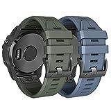 ANBEST Silikon Uhrenarmband Kompatibel mit Fenix 5/Fenix 6/Fenix 5 Plus/Fenix 6 Pro Armband Schnellspanner Armbänder Ersatzarmband Passend für Forerunner 935/945, Armee Grün+Stein