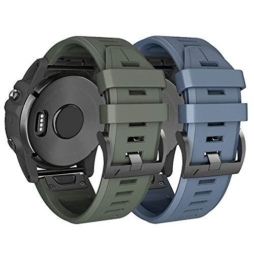 ANBEST 22mm Silikon Armband für Fenix 5 Armbänder/Fenix 5 Plus/Fenix 6/Fenix 6 Pro Uhrenarmband, Schnellspanner Silikon Ersatzarmband Kompatibel mit Forerunner 935/945 Smart Watch(Stein, Armee grün)