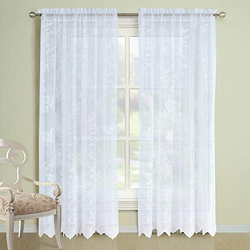 DS CURTAIN Lakeside White Scalloped Lace Rod Pocket Window Curtain,Translucentin Panels for Living Room and Bedroom,2pcs Panel Set:Each Size 54' W x 84' H,Total Size:108' W x 84' H