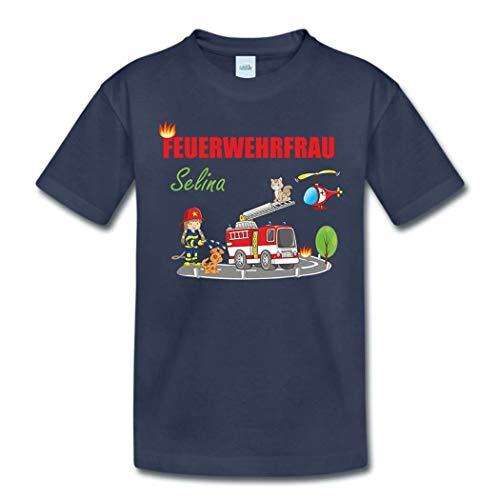 T-Shirt mit eigenem Namen für Babys Kleinkinder Kinder Kindergarten Schulkind Kindershirt Sommershirt Feuerwehr Feuerwehrfrau (96-104)