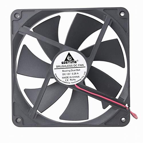 GDSTIME 12V Cooling Fan 1425, 140mm x 25mm Dual Ball Bearings Brushless Cooler Fan