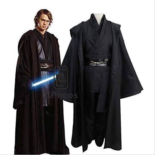 WSJDE Disfraz de Star Wars Caballero Jedi Anakin Skywalker Cosplay Disfraz de Fiesta de Halloween Darth Vader Traje Negro Conjunto Completo S Tamaño Masculino