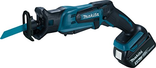 Makita DJR183RT1J Reciprosäge 18 V / 5,0 Ah, 1 Akku und Ladegerät im MAKPAC, Schwarz, Blau