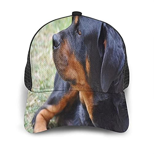 Gorra de Beisbol Espalda de Malla Senderismo al Aire Libre Sombrero Deportivo,Rottweiler Perro Mascota Animal Reloj Negro Vigilante,Gorra de Sol de Enfriamiento para Hombres Mujeres
