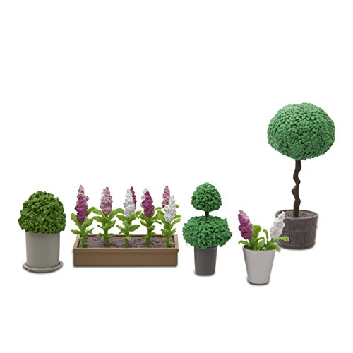 Lundby 60-905500 - Pflanzen für Puppenhaus - 15-teilig - Puppenhauszubehör - Blumen - Blumenbeet - Topfpflanzen - 11 cm Puppen - Zubehör - ab 4 Jahre - Minipuppen 1:18