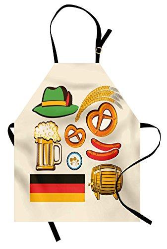 Ambesonne German Apron, Oktoberfest Wheat Sausage Beer and Pretzels Colorful Bavarian Arrangement, Unisex Kitchen Bib with Adjustable Neck for Cooking Gardening, Adult Size, Beige Orange