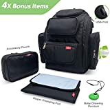 Ezly Large Diaper Bag Backpack -Maternity Baby Nappy with USB charger (Black)
