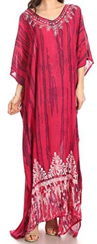 Sakkas 1902 - Tacy Casual da Donna Boho Summer Maxi Dress Caftano Caftano Cover-up LougeWear - Fuschia Navy - SO