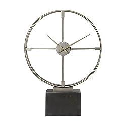 Mid Century Modern Open Silver Table Clock | Round Retro Large Desk Contemporary