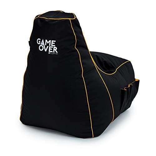 Game Over 8Bit Kinder Mini Videospiel Sitzsack für Videospiele | Wohnzimmer | Seitentaschen für Steuergeräte | Headset-Halter | Ergonomisches (Mystisches Medaillon)