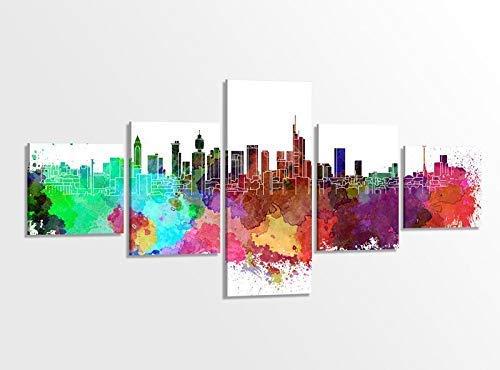 Leinwandbild 5 tlg. 200cmx100cm Frankfurt Skyline Stadt bunt Retro Kunst Bilder Druck auf Leinwand Bild Kunstdruck mehrteilig Holz gerahmt 9AB320