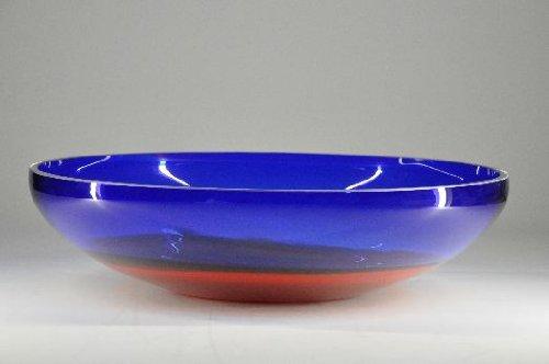 Glasfeld, Glas, Kobaltblau, Rot, Orangene, Schale, Murano, Design, Handarbeit
