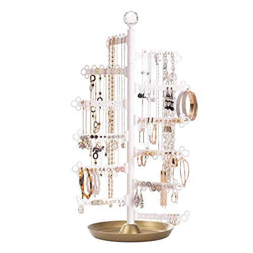 AllHungUp 12-Tier 17.5' Rotating 360° Display Earrings (120 holes-stud/dangly) Necklaces Large Capacity - Jewelry Holder Stand Tower Tabletop Tree Storage Organizer - Base Dish Tray - Gold
