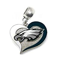 """Charm Philadelphia Eagles Football 7/8"""" ACROSS x 7/8"""" IN LENGTH Heart Slide Pendant for Your Necklace European Charm Bracelet (Fits Most Name Brands) Jewelry DIY Projects"""