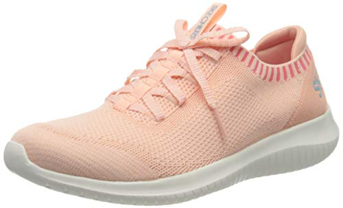 Skechers Damen Ultra Flex Sneaker, Pink (Coral Knit Mesh/Blue Trim Crl), 37 EU