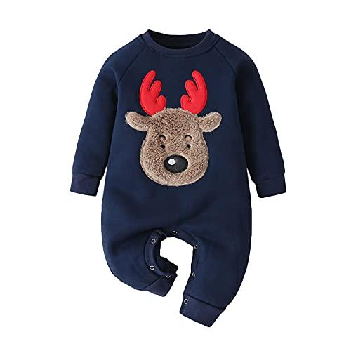 Verve Jelly Mameluco para niñas recién nacidas, mono con estampado de alces navideños para bebés, mono de manga larga, ropa navideña, trajes azules 74 6-9 meses