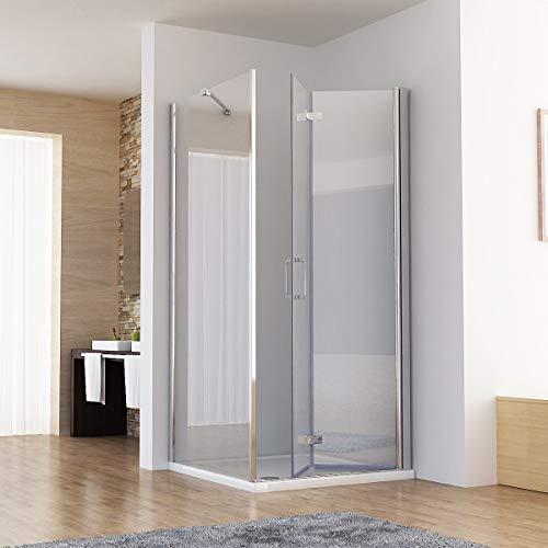MIQU Duschkabine 90x75 Eckig Dusche Falttür 90 mit Seitenwand 75 Duschwand 6mm NANO Glas 185cm DB