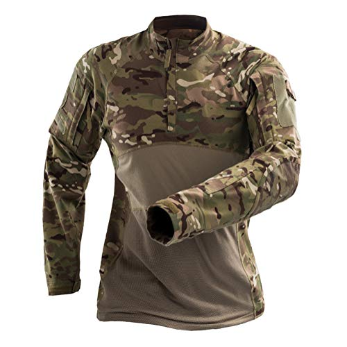 Onsoyours Herren Militär-T-Shirt Tactical Shirt Combat Shirt Slim Fit Langarm Camouflage Shirt Paintball Airsoft Army Hemd Militär Uniform A Braun S