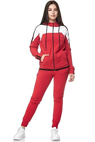 Damen Jogginganzug Trainingsanzug Frauen Sportanzug Fitness Outfit Streetwear Training Tracksuit Jogginghose Hoodie-Sporthose Jogging-Hose Jogger Sportkleidung Modell 1148C-JK (Rot, L)