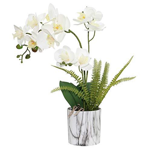 Olrla Planta de orquídea Artificial Blanca en Maceta de marmoleado, bonsái de Phalaenopsis Falso de Tacto Real PU para Boda, Comedor, Centro de Mesa, decoración del hogar (Blanco 3)