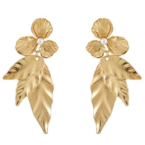 WFZ17 Pendientes largos de estilo bohemio con diseño de hojas de flores, para mujeres y niñas, color dorado