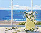 HCULCU-Hágalo usted mismo Hágalo usted mismo Regalo de pintura al óleo sobre lienzo para niños adultos que pintan con el número del kit-Balcón junto al mar16 * 20 pulgadas-Sin marco